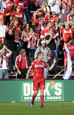BRIDGEVIEW, IL - OCTOBER 16: Brian McBride #20 of the Chicago Fire reacts to an offside call playing his last game against  D.C. United in an MLS match on October 16, 2010 at Toyota Park in Bridgeview, Illinois. The match ended in a 0-0 draw. (Photo by Da