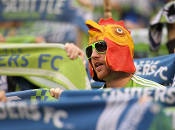 SEATTLE, WA - OCTOBER 31:  A fan of the Seattle Sounders FC looks on during the 1st leg playoff game against the Los Angeles Galaxy at Qwest Field on October 31, 2010 in Seattle, Washington. The Galaxy defeated the Sounders 1-0. (Photo by Otto Greule Jr/G