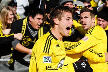 COLUMBUS, OH - NOVEMBER 6:  Robbie Rogers #18 of the Columbus Crew celebrates a Crew goal against the Colorado Rapids  during the second leg of the MLS playoff match on November 6, 2010 at Crew Stadium in Columbus, Ohio.  (Photo by Jamie Sabau/Getty Image