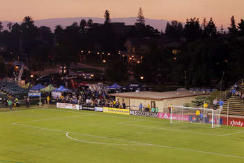 SANTA CLARA, CA - OCTOBER 20:  The sun sets over Buck Shaw Stadium before a game between the San Jose Earthquakes and Chivas USA on October 20, 2010 at Buck Shaw Stadium in Santa Clara, California.  The Earthquakes won 3-0. (Photo by Brian Bahr/Getty Imag