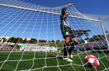 SAN DIEGO - MARCH 28:  Goaltender Erika Vanegas #1 of Mexico pulls the ball out after a USA goal during the Women's International Friendly Soccer Match between Mexico and the United States at Torero Stadium on March 28, 2010 in San Diego, California. USA