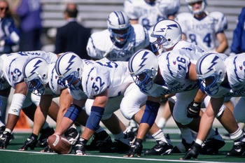 16 SEP 1995:  AIR FORCE QUARTERBACK TOM BROWN STANDS SET WITH HIS OFFENSIVE LINE PRIOR TO AIR FORCE''S 30-6 LOSS TO NORTWESTERN UNIVERSITY AT DYCHE STADIUM IN EVANSTON, ILLINOIS. Mandatory Credit: BRIAN BAHR/ALLSPORT