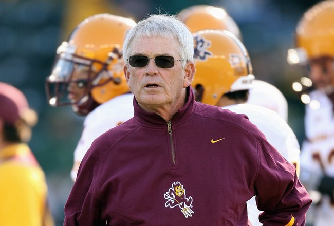 EUGENE, OR - NOVEMBER 03: Dennis Erickson of the Arizona State Sun Devils looks on before the game against the Oregon Ducks at Autzen Stadium on November 3, 2007 in Eugene, Oregon. The Ducks defeated the Sun Devils 35-23. (Photo by Otto Greule Jr/Getty Im