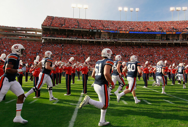 AUBURN, AL - NOVEMBER 13:  The Auburn Tigers enter the field against the Georgia Bulldogs at Jordan-Hare Stadium on November 13, 2010 in Auburn, Alabama.  (Photo by Kevin C. Cox/Getty Images)
