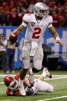NEW ORLEANS, LA - JANUARY 04:  Quarterback Terrelle Pryor #2 of the Ohio State Buckeyes looks to run against the Arkansas Razorbacks during the Allstate Sugar Bowl at the Louisiana Superdome on January 4, 2011 in New Orleans, Louisiana.  (Photo by Kevin C