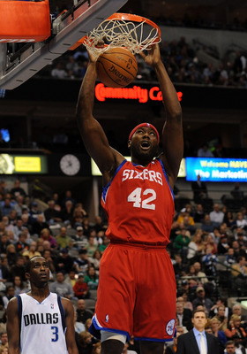 DALLAS - NOVEMBER 30:  Forward Elton Brand #42 of the Philadelphia 76ers dunks against the Dallas Mavericks on November 30, 2009 at American Airlines Center in Dallas, Texas.  NOTE TO USER: User expressly acknowledges and agrees that, by downloading and/o