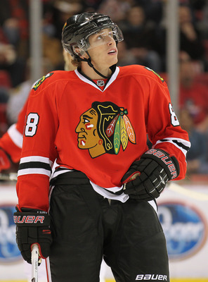 DETROIT, MI - JANUARY 22:  Patrick Kane #88 of the Chicago Black Hawks looks up at the clock in a game against the Detroit Red Wings on January 22, 2011 at the Joe Louis Arena in Detroit, Michigan. The Hawks defeated the Wings 4-1. (Photo by Claus Anderse