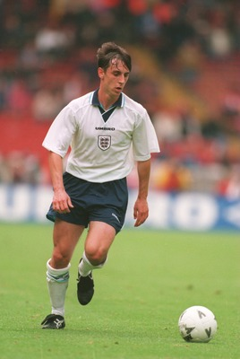 6 JUN 1995:  GARY NEVILLE OF ENGLAND IN ACTION DURING AN UMBRO CUP MATCH AGAINST JAPAN AT WEMBLEY STADIUM. THE GAME ENDED IN A 1-1 DRAW. Mandatory Credit: Chris Cole/ALLSPORT