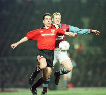 22 Jan 1996:   Defender Gary Neville of Manchester United holds off striker Ian Dowie of West Ham during a match against  Manchester United in a FA Premiership match at Upton Park, London. Mandatory Credit: Shaun Botterill/Allsport