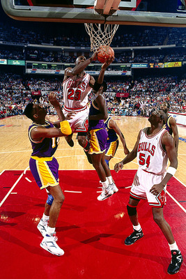 Michael Jordan switching hands in the 1991 NBA Finals