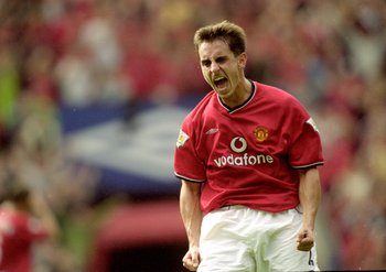 23 Sep 2000:  Gary Neville of Manchester United celebrates during the FA Carling Premiership match against Chelsea at Old Trafford, in Manchester, England. The match ended in a 3-3 draw. \ Mandatory Credit: Ben Radford /Allsport