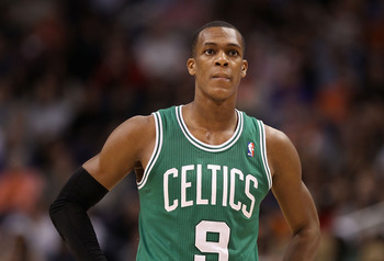 PHOENIX, AZ - JANUARY 28:  Rajon Rondo #9 of the Boston Celtics during the NBA game against the Phoenix Suns at US Airways Center on January 28, 2011 in Phoenix, Arizona.  The Suns defeated the Celtics 88-71.  NOTE TO USER: User expressly acknowledges and