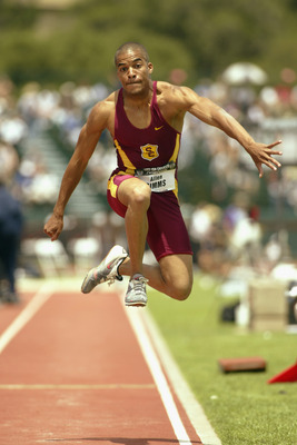 PALO ALTO, CA - JUNE 22:  Allen Simms of the University of Southern California competes in the men's triple jump during the USA Outdoor Track and Field Championships on June 22, 2003 at Cobb Track and Angell Field at Stanford University in Palo Alto, Cali