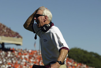 COLLEGE STATION, TX - SEPTEMBER 21:  Head coach R.C. Slocum of the Texas A&M Aggies rips his hair out during the NCAA football game against the Virginia Tech Hokies on September 21, 2002 at Kyle Field in College Station, Texas. The Hokies won 13-3. (Photo