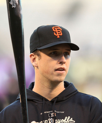 Buster Posey during batting practice before a World Series game