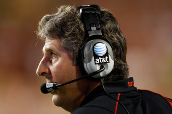AUSTIN, TX - SEPTEMBER 19:  Head coach Mike Leach of the Texas Tech Red Raiders during play against the Texas Longhorns at Darrell K Royal-Texas Memorial Stadium on September 19, 2009 in Austin, Texas.  (Photo by Ronald Martinez/Getty Images)