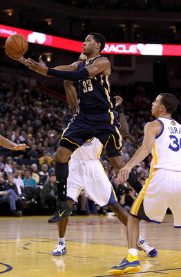 OAKLAND, CA - JANUARY 19:  Danny Granger #33 of the Indiana Pacers goes up for a shot against the Golden State Warriors at Oracle Arena on January 19, 2011 in Oakland, California.  NOTE TO USER: User expressly acknowledges and agrees that, by downloading