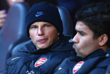 LONDON - FEBRUARY 08:  New signing Andrey Arshavin of Arsenal on the bench during the Barclays Premier League match between Tottenham Hotspur and Arsenal at White Hart Lane on February 8, 2009 in London, England.  (Photo by Mike Hewitt/Getty Images)