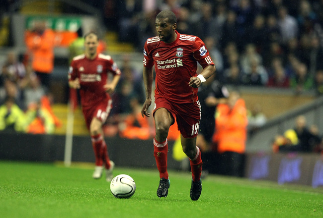 LIVERPOOL, ENGLAND - SEPTEMBER 22:  Ryan Babel of Liverpool in action during the Carling Cup Third Round match between Liverpool and Northampton Town at Anfield on September 22, 2010 in Liverpool, England. (Photo by Pete Norton/Getty Images)