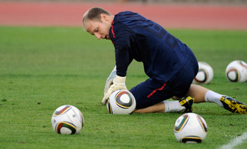 PRETORIA, SOUTH AFRICA - JUNE 02: Brad Guzan goalkeeper of US national team during training session at Pilditch Stadium on June 2, 2010 in Pretoria, South Africa. US will face England in their 2010 World Cup opener on June 12.  (Photo by Kevork Djansezian