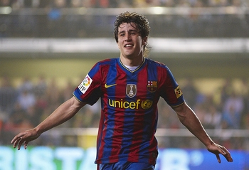 VILLARREAL, SPAIN - MAY 01:  Bojan Krkic of FC Barcelona celebrates after scoring during the La Liga match between Villarreal CF and FC Barcelona at El Madrigal stadium on May 1, 2010 in Villarreal, Spain.  (Photo by Manuel Queimadelos Alonso/Getty Images