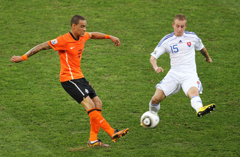 DURBAN, SOUTH AFRICA - JUNE 28:  Gregory Van Der Wiel of the Netherlands and Miroslav Stoch of Slovakia in action during the 2010 FIFA World Cup South Africa Round of Sixteen match between Netherlands and Slovakia at Durban Stadium on June 28, 2010 in Dur