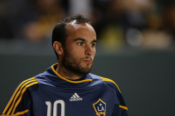 CARSON, CA - NOVEMBER 14:  Landon Donovan #10 of the Los Angeles Galaxy stretches prior to the Western Conference Finals match of the MLS playoffs against FC Dallas at The Home Depot Center on November 14, 2010 in Carson, California. FC Dallas defeated th
