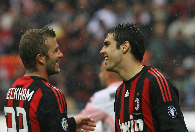 MILAN, ITALY - APRIL 26: David Beckham and Kaka (R) of Milan laugh during the Serie A match between AC Milan and US Citta di Palermo at the San Siro Stadium on April 26, 2009 in Milan,Italy.  (Photo by New Press/Getty Images)