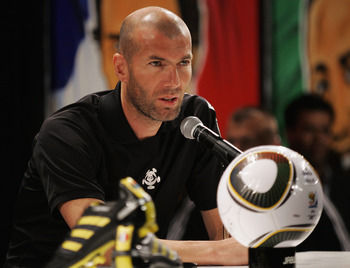 SANDTON, SOUTH AFRICA - JUNE 21:  Zinedine Zidane attends a Press Conference on the eve of the France vs South Africa Group A match, on June 21, 2010 in Sandton, South Africa.  (Photo by Dominic Barnardt/Getty Images for adidas)