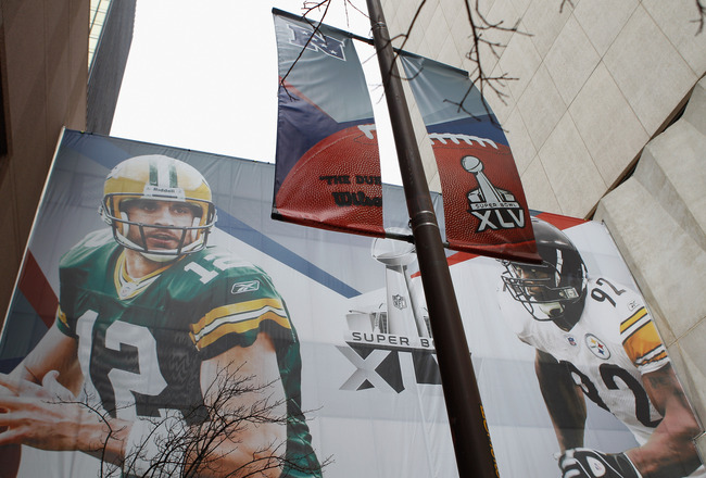 DALLAS, TX - FEBRUARY 02:  A Super Bowl XLV banner is displayed downtown on February 2, 2011 in Dallas, Texas. The Green Bay Packers will play the Pittsburgh Steelers in Super Bowl XLV on February 6, 2011 at Cowboys Stadium in Arlington, Texas.  (Photo by