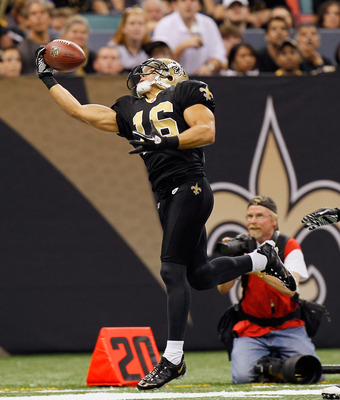 NEW ORLEANS - NOVEMBER 21:  Lance Moore #16 of the New Orleans Saints against the Seattle Seahawks at Louisiana Superdome on November 21, 2010 in New Orleans, Louisiana.  (Photo by Kevin C. Cox/Getty Images)