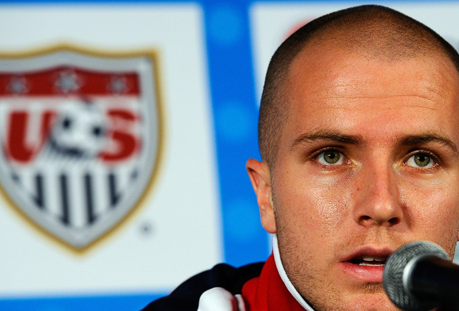 PRETORIA, SOUTH AFRICA - JUNE 21:  Michael Bradley of US national football team speaks during a press conference at Irene Farm on June 21, 2010 in Irene near Pretoria, South Africa. The USA will play their next World Cup Group C match against Algeria at L