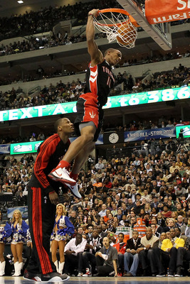 DALLAS - FEBRUARY 13:  DeMar DeRozan #10 of the Toronto Raptors goes up for a dunk with the help of teammate Sonny Weems during the Sprite Slam Dunk Contest on All-Star Saturday Night, part of 2010 NBA All-Star Weekend at American Airlines Center on Febru