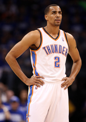 OKLAHOMA CITY, OK - MAY 21:  Thabo Sefolosha #2 of the Oklahoma City Thunder looks on while taking on the Dallas Mavericks in Game Three of the Western Conference Finals during the 2011 NBA Playoffs at Oklahoma City Arena on May 21, 2011 in Oklahoma City,