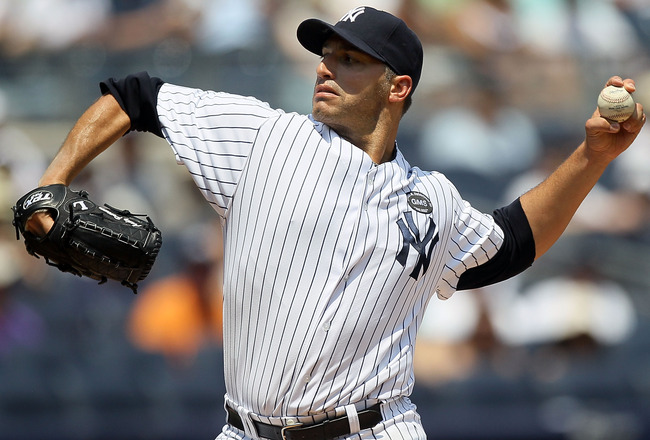 NEW YORK - JULY 18:  Andy Pettitte #46 of the New York Yankees delivers a pitch against the Tampa Bay Rays on July 18, 2010 at Yankee Stadium in the Bronx borough of New York City.  (Photo by Jim McIsaac/Getty Images)