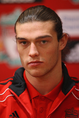 LIVERPOOL, ENGLAND - FEBRUARY 03:  New signing Andy Carroll of Liverpool faces the media during a press conference at Anfield on February 3, 2011 in Liverpool, England.  (Photo by Alex Livesey/Getty Images)