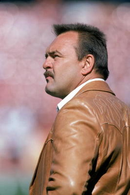 1985:  Hall of Fame linebacker Dick Butkus looks on as he attends a NFL game in 1985.  Butkus played for the Chicago Bears from 1965-1973.  (Photo by George Rose/Getty Images)