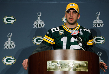 IRVING, TX - FEBRUARY 02:  Quarterback Aaron Rodgers #12 of the Green Bay Packers talks to the media on February 2, 2011 in Irving, Texas. The Green Bay Packers will play the Pittsburgh Steelers in Super Bowl XLV on February 6, 2011 at Cowboys Stadium in