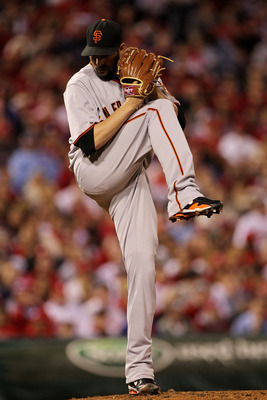 PHILADELPHIA - OCTOBER 23:  Jonathan Sanchez #57 of the San Francisco Giants pitches against the Philadelphia Phillies in Game Six of the NLCS during the 2010 MLB Playoffs at Citizens Bank Park on October 23, 2010 in Philadelphia, Pennsylvania.  (Photo by