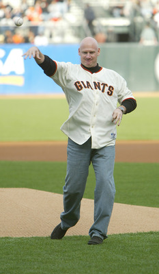 SAN FRANCISCO - APRIL 13:  Former San Francisco Giants great Matt Williams throws out the first pitch during the game against the Milwaukee Brewers on April 13, 2004 at SBC Park in San Francsico, California The Giants won 4-2.  (Photo by Justin Sullivan/G