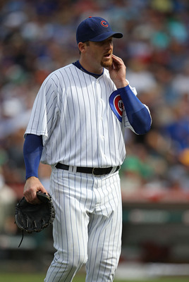 CHICAGO - SEPTEMBER 05: Starting pitcher Ryan Dempster #46 of the Chicago Cubs leaves a game against the New York Mets at Wrigley Field on September 5, 2010 in Chicago, Illinois. The Mets defeated the Cubs 18-5. (Photo by Jonathan Daniel/Getty Images)