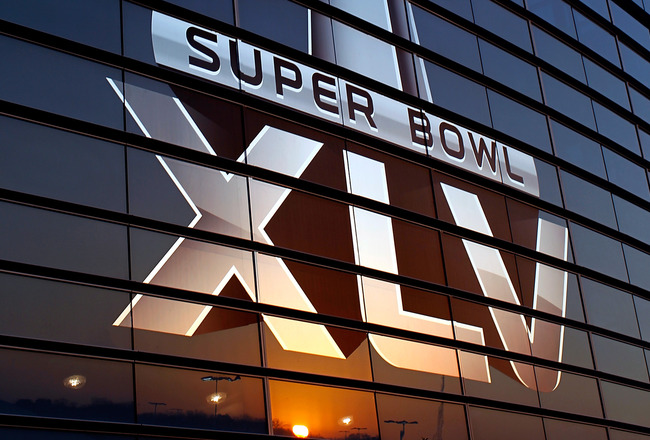 ARLINGTON, TX - JANUARY 30:  The logo for Super Bowl XLV outside of Cowboys Stadium on January 30, 2011 in Arlington, Texas. Cowboys Stadium will host Super Bowl XLV on February 6, 2011 between the Pittsburgh Steelers and the Green Bay Packers in Arlingto