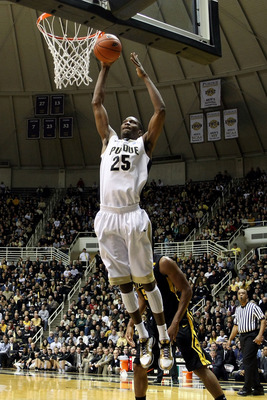 WEST LAFAYETTE, IN - JANUARY 09:  JaJuan Johnson #25 of the Purdue Boilermakers dunks in the first half against the Iowa Hawkeyes at Mackey Arena on January 9, 2011 in West Lafayette, Indiana.  (Photo by Chris Chambers/Getty Images)