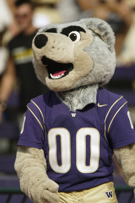 SEATTLE - SEPTEMBER 6:  The University of Washington Huskies mascot walks the sideline during a game against    the University of Indiana Hoosiers on September 6, 2003 at Husky Stadium in Seattle, Washington.  Washington defeated Indiana 38-13. (Photo by