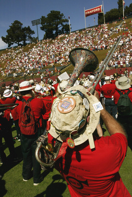 PALO ALTO, CA  - OCTOBER 18:  Members of the Stanford Cardinals marching band play to the fans during the game against the Washington State Cougars on October 18, 2003 at Stanford Stadium in Palo Alto, California.  Washington State defeated Stanford 24-17