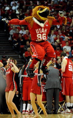 LAS VEGAS - MARCH 11:  The Utah Utes mascot Swoop  performs during a quarterfinal game against the UNLV Rebels at the Conoco Mountain West Conference Basketball tournament at the Thomas & Mack Center March 11, 2010 in Las Vegas, Nevada. UNLV won 73-61.  (
