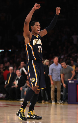 LOS ANGELES, CA - NOVEMBER 28:  Danny Granger #33 of the Indiana Pacers celebrates at the conclusion of the game against the Los Angeles Lakers at Staples Center on November 28, 2010 in Los Angeles, California. The Pacers defeated the Lakers 95-92. NOTE T