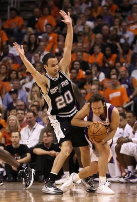PHOENIX - MAY 03:  Manu Ginobili #20 of the San Antonio Spurs defends against Steve Nash #13 of the Phoenix Suns during Game One of the Western Conference Semifinals of the 2010 NBA Playoffs at US Airways Center on May 3, 2010 in Phoenix, Arizona.  The Su