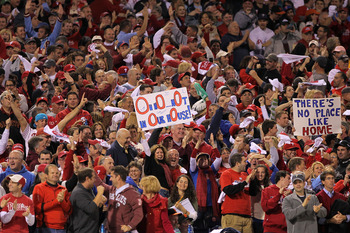 PHILADELPHIA - OCTOBER 17:  A Philadelphia Phillies fan holds up a sign as the Phillies take on the San Francisco Giants in Game Two of the NLCS during the 2010 MLB Playoffs at Citizens Bank Park on October 17, 2010 in Philadelphia, Pennsylvania.  (Photo