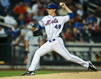 NEW YORK - AUGUST 25:  Pat Misch #48 of the New York Mets pitches against the Florida Marlins on August 25, 2010 at Citi Field in the Flushing neighborhood of the Queens borough of New York City.  (Photo by Andrew Burton/Getty Images)